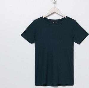 Zielony t-shirt Sinsay w stylu casual z okrągłym dekoltem