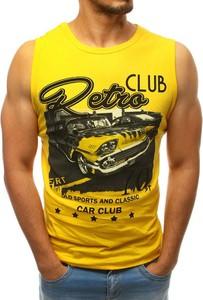 Żółta koszulka Dstreet z bawełny z nadrukiem