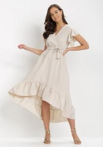Sukienka born2be kopertowa z krótkim rękawem