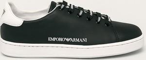 Czarne buty sportowe Emporio Armani sznurowane ze skóry