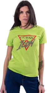 Zielona bluzka Guess z okrągłym dekoltem z krótkim rękawem z bawełny