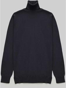 Czarny sweter Borgio w stylu casual z bawełny z golfem
