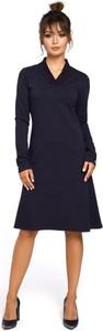 Sukienka Be midi z długim rękawem z dekoltem w kształcie litery v