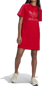 Czerwona sukienka Adidas z krótkim rękawem w sportowym stylu z okrągłym dekoltem