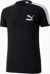 Czarny t-shirt Puma w sportowym stylu z bawełny