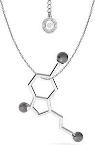 GIORRE Srebrny naszyjnik SEROTONINA z dużymi perłami Swarovskiego, wzór chemiczny 925 : Kolor pokrycia srebra - Pokrycie Jasnym Rodem, Perła - SWAROVSKI BLACK