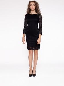 Czarna sukienka 4myself mini z okrągłym dekoltem z długim rękawem