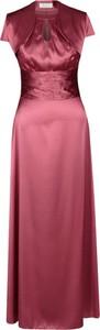 Czerwona sukienka Fokus z krótkim rękawem z satyny