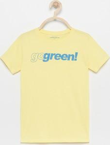 Żółta koszulka dziecięca Reserved z bawełny