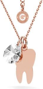 GIORRE SREBRNY NASZYJNIK ZĄB SWAROVSKI GRAWER 925 : Kolor kryształu SWAROVSKI - Crystal, Kolor pokrycia srebra - Pokrycie Różowym 18K Złotem