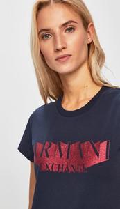 Niebieski t-shirt Armani Jeans z okrągłym dekoltem z krótkim rękawem w stylu casual