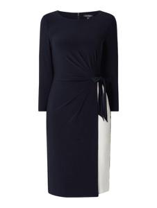 Granatowa sukienka Ralph Lauren prosta z okrągłym dekoltem z długim rękawem