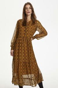 Brązowa sukienka Kaffe w stylu casual z długim rękawem