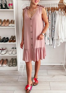 Różowa sukienka FidoStyle prosta midi