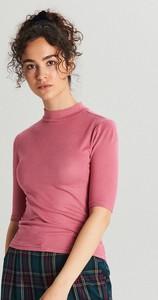 Czerwona bluzka Cropp z krótkim rękawem w stylu casual