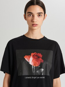 T-shirt Cropp z krótkim rękawem z okrągłym dekoltem