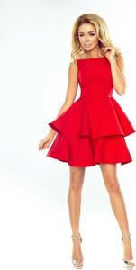Czerwona sukienka NUMOCO mini z dekoltem w łódkę