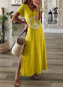 Sukienka Sandbella maxi z krótkim rękawem