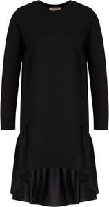 Czarna sukienka Twinset asymetryczna z okrągłym dekoltem w stylu casual