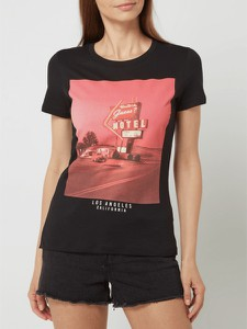 Czarny t-shirt Guess z okrągłym dekoltem w młodzieżowym stylu
