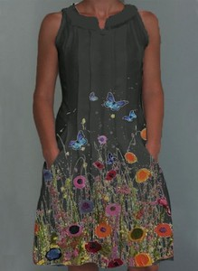 Sukienka Cikelly bez rękawów koszulowa w stylu casual