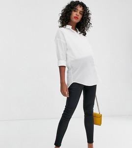 Czarne spodnie New Look Maternity w street stylu ze skóry