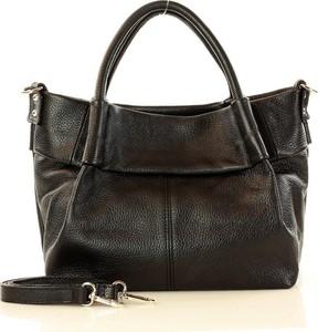 Czarna torebka MAZZINI ze skóry do ręki
