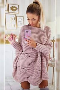 Różowy sweter Ivet.pl w stylu casual