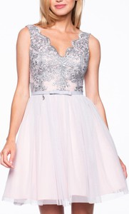 Srebrna sukienka Premiera Dona z tiulu