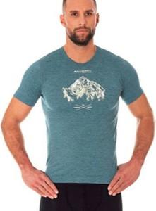 Niebieski t-shirt Brubeck z wełny