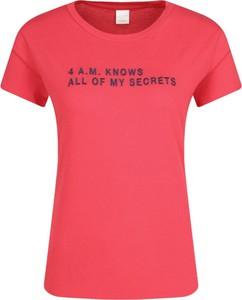 Czerwony t-shirt BOSS Casual z krótkim rękawem w stylu casual z okrągłym dekoltem