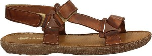 Brązowe buty letnie męskie Darbut ze skóry na rzepy
