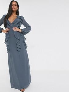 Sukienka Tfnc z dekoltem w kształcie litery v z długim rękawem