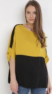 Żółta bluzka born2be z okrągłym dekoltem