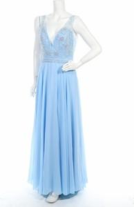 Niebieska sukienka Dave & Johnny maxi bez rękawów
