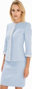 Niebieska spódnica L'AF z żakardu