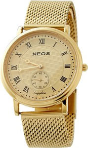 Neos Klasyczny złoty zegarek z rzymskimi cyframi i szafirowym szkłem