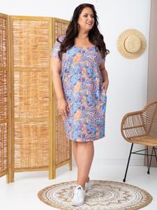 Sukienka KARKO dla puszystych z okrągłym dekoltem z krótkim rękawem