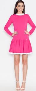 Różowa sukienka Katrus z okrągłym dekoltem z bawełny midi