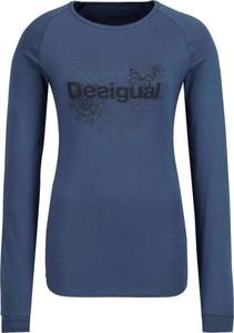 Niebieska bluzka Desigual Sport w stylu casual z długim rękawem