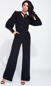 Granatowy kombinezon Bien Fashion z długimi nogawkami z tkaniny