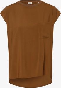 Brązowa bluzka Marc O'Polo DENIM z krótkim rękawem z okrągłym dekoltem w stylu casual
