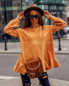Bluzka Tmc Moda z okrągłym dekoltem z bawełny