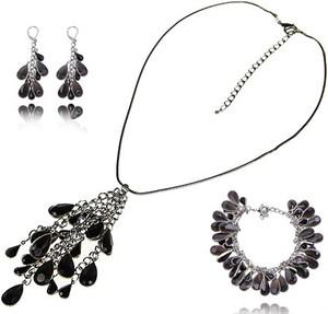 POLSKA Komplet biżuterii czarne łezki: naszyjnik, bransoletka i kolczyki