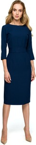 Sukienka Style z długim rękawem z tkaniny z dekoltem w łódkę