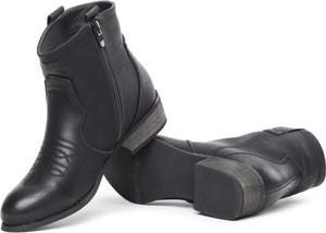 f20b6d6e2c7a7 Czarne botki Royalfashion.pl ze skóry ekologicznej w stylu casual na obcasie