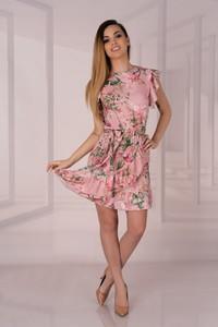 Różowa sukienka MERRIBEL z okrągłym dekoltem mini trapezowa