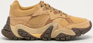 Brązowe buty sportowe Caterpillar ze skóry na platformie