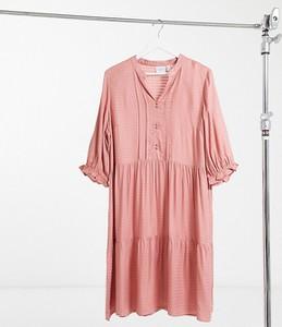 Różowa sukienka Junarose z długim rękawem koszulowa