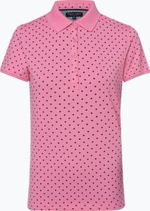 Różowy t-shirt Marie Lund w stylu casual z kołnierzykiem z bawełny